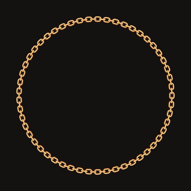 Cornice rotonda realizzata con catena dorata. Vettore Premium