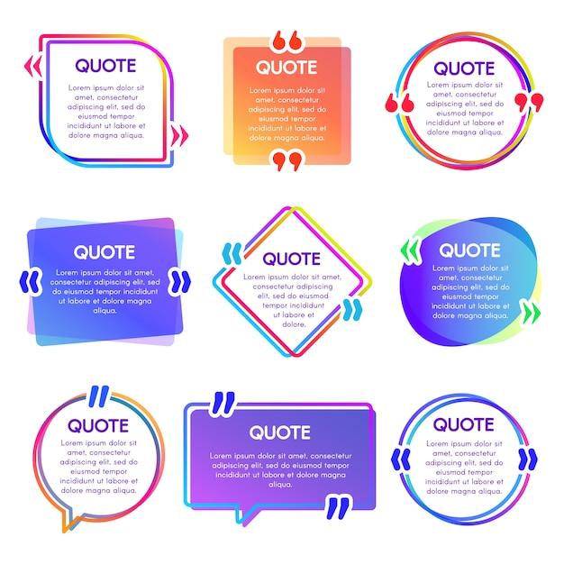 Cornice scatola delle citazioni. menzionate le cornici di testo, le bolle di discorso e le frasi citate Vettore Premium