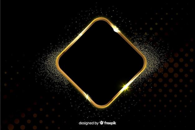 Cornice scintillante d'oro su sfondo nero Vettore gratuito