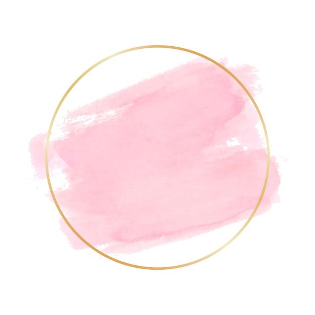 Cornice semplice dorata macchia dell'acquerello Vettore gratuito