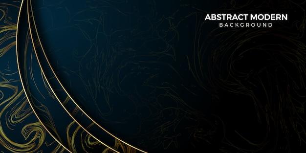 Cornice sfondo astratto in scuro e oro Vettore Premium