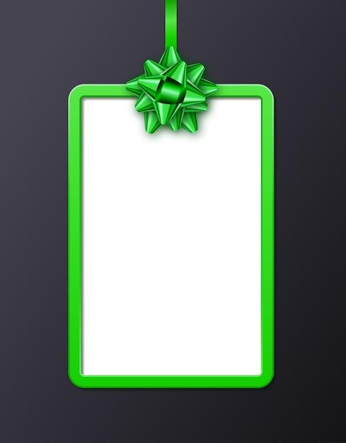 Cornice verticale con fiocco verde legato Vettore Premium