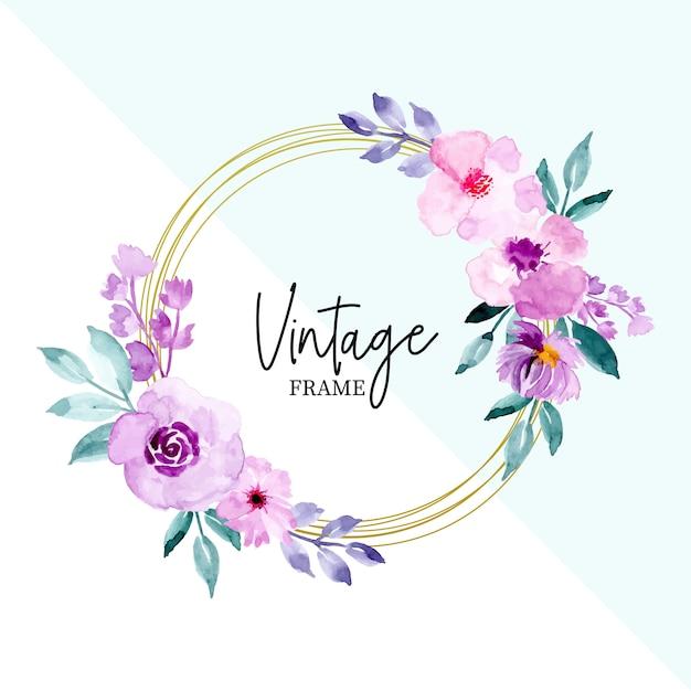 Cornice vintage acquerello floreale e foglie Vettore Premium