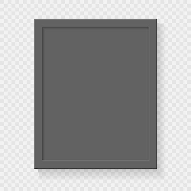 Cornice vuota quadrata realistica su sfondo trasparente. Vettore Premium