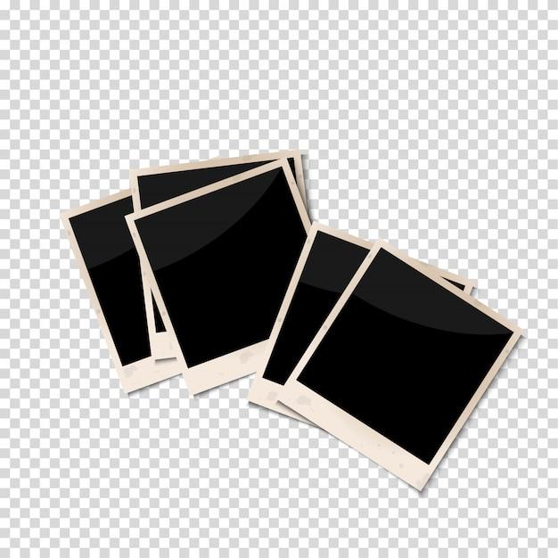 Cornici antiche foto isolato su sfondo trasparente Vettore Premium