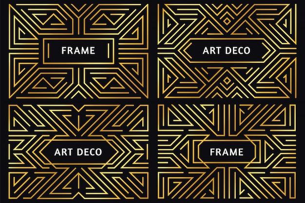 Cornici art deco. confine di linea dorata vintage, ornamento decorativo oro e cornice geometrica astratta di lusso bordi illustrazione Vettore Premium