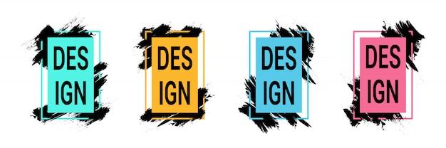 Cornici colorate con pennellate nere per testo, grafica di arte moderna Vettore Premium