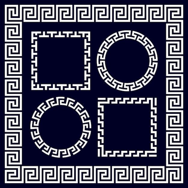 Cornici di bordo rotonde e rettangolari del greco antico Vettore Premium