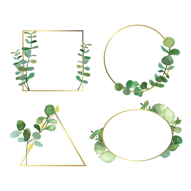 Cornici di invito di nozze con foglie Vettore gratuito