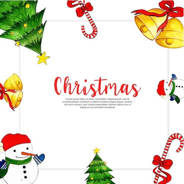 Immagini Cornici Di Natale.Cornici Di Natale Dell Acquerello Scaricare Vettori Premium