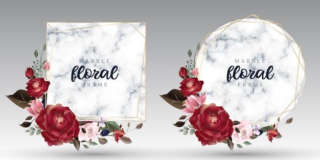 Cornici dorate geometriche floreali e di marmo di lusso Vettore Premium