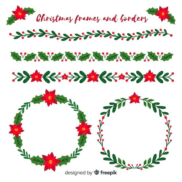 Cornici E Bordi Di Natale Piatto Scaricare Vettori Gratis