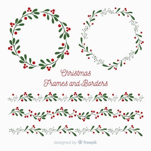 Cornici e bordi piatti di Natale Vettore gratuito