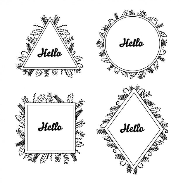 Cornici floreali disegnati a mano impostati per il branding Vettore Premium