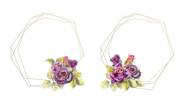 Cornici geometriche in oro con fiori di rosa. stile acquerello Vettore Premium