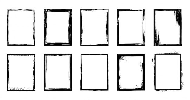 Cornici grunge. bordo tratto pennello inchiostro, macchie di pennello artistico e set di elementi di cornice di vernice nera. raccolta di cornici rettangolari ruvide su sfondo bianco. pennellate a secco Vettore Premium