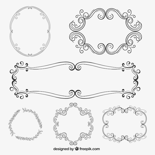 Cornici ornamentali in stile disegnato a mano scaricare for Cornici semplici per foto