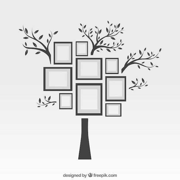 Cornici per foto su albero Vettore gratuito