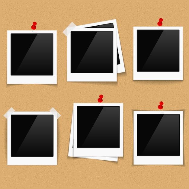 Cornici per foto su bacheca Vettore Premium
