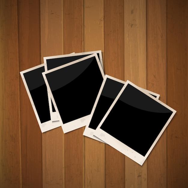 Cornici per foto su legno Vettore Premium