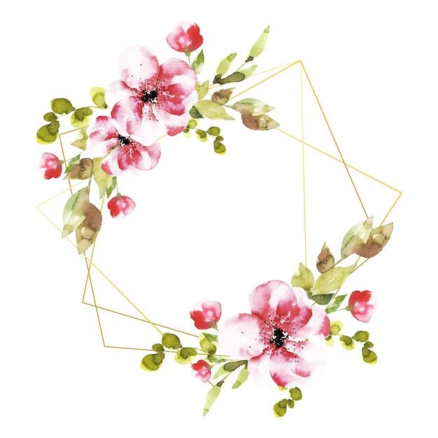 Cornici poligonali con fiori rosa Vettore gratuito