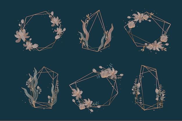 Cornici poligonali dorate con fiori eleganti Vettore gratuito