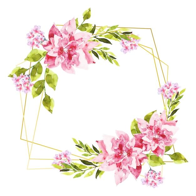 Cornici poligonali dorate con fiori rosa Vettore gratuito