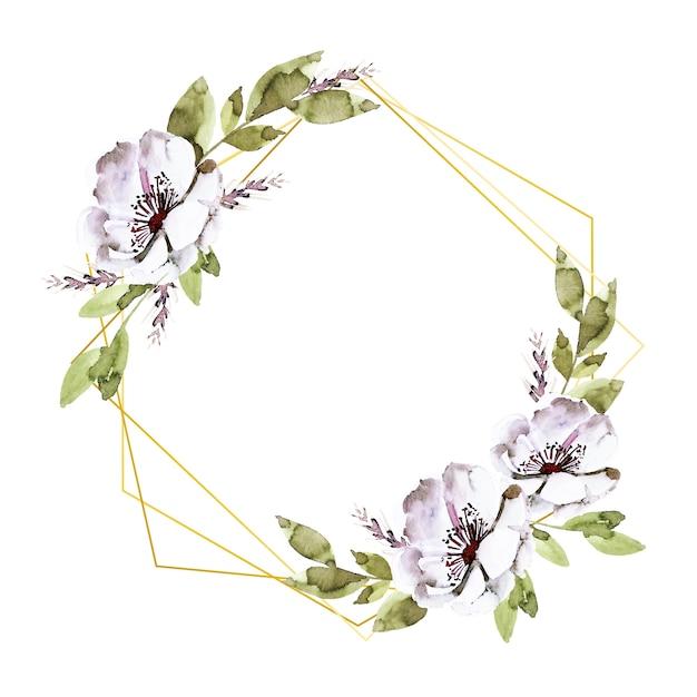 Cornici poligonali dorate con fiori Vettore gratuito