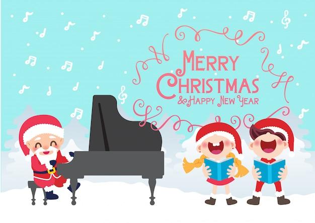Coro di bambini festa di natale e pianista santa Vettore Premium