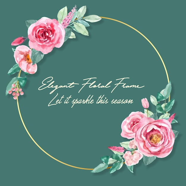 Corona affascinante floreale con la pittura dell'acquerello di rosa, illustrazione della peonia. Vettore gratuito