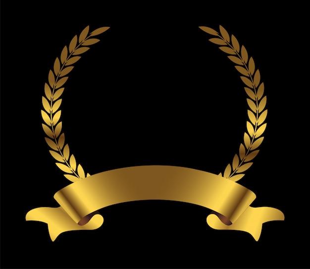 Corona d'alloro d'oro con nastro Vettore Premium