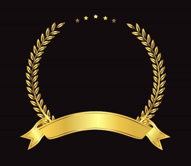 Corona d'alloro d'oro premio Vettore Premium