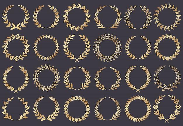 Corona d'alloro dorata. premi del festival del cinema, attrice vincitrice, simbolo foglia di cannes film Vettore Premium