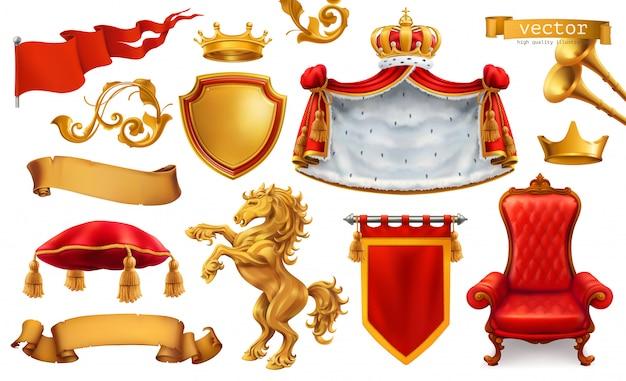 Corona d'oro del re. sedia reale, mantello, cuscino. Vettore Premium
