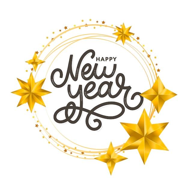 Corona d'oro felice nuovo anno 2020 Vettore Premium