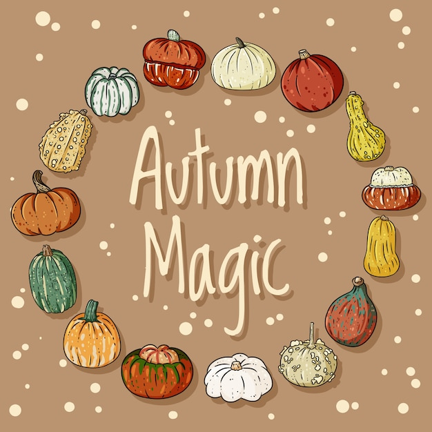 Corona decorativa magica di autunno con la carta delle zucche Vettore Premium