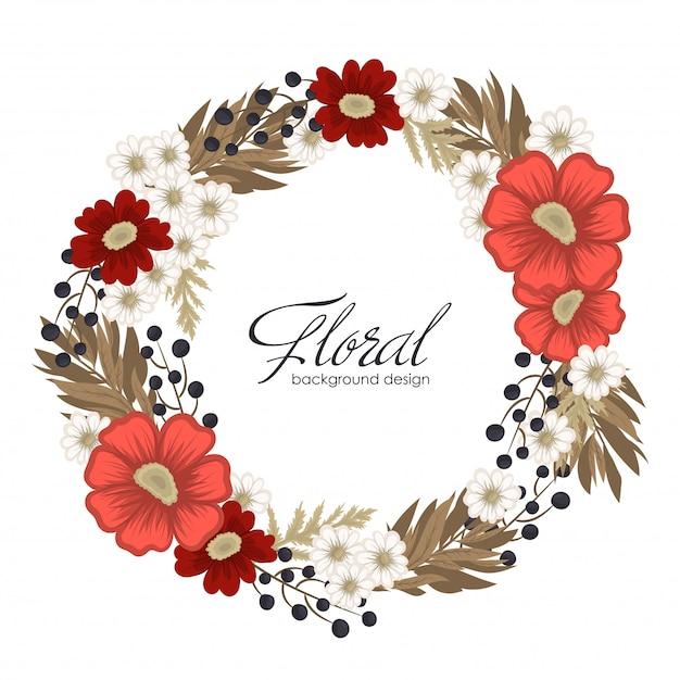 Corona del fiore che disegna la struttura rossa del cerchio con i fiori Vettore gratuito