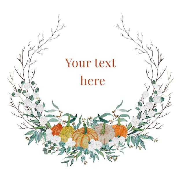 Corona del ringraziamento con zucche e fiori bianchi Vettore Premium