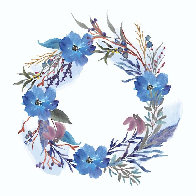 Corona dell'acquerello blu floreale e splash Vettore Premium