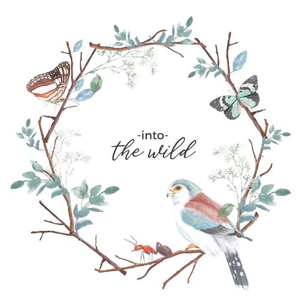 Corona dell'insetto e dell'uccello con la farfalla, la formica, il fringillide, illustrazione dell'acquerello del ramo. Vettore gratuito