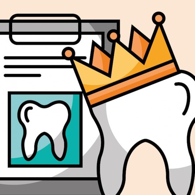Corona dentale e appunti riportano cure odontoiatriche Vettore Premium