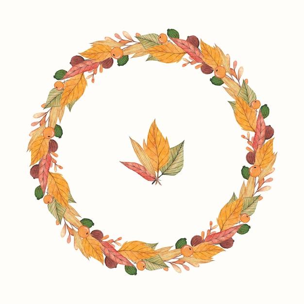Corona di autunno con foglie di acquerello Vettore Premium
