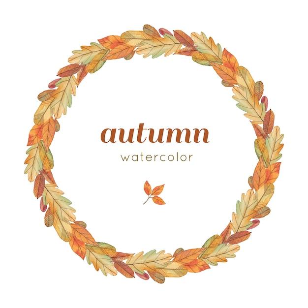 Corona di autunno dell'acquerello con foglie gialle Vettore Premium