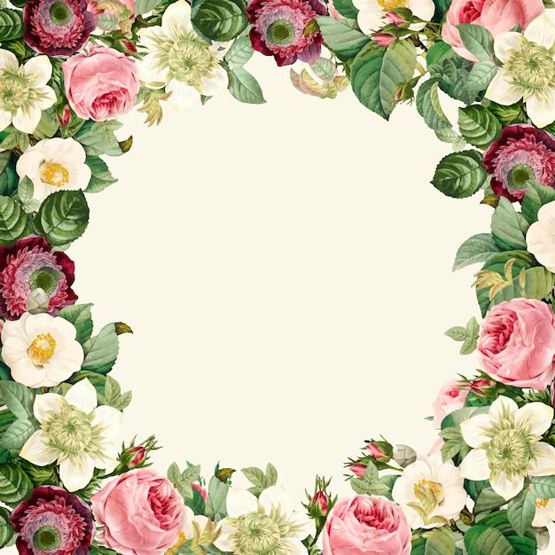 Corona di bellissimi fiori selvatici in fiore Vettore gratuito