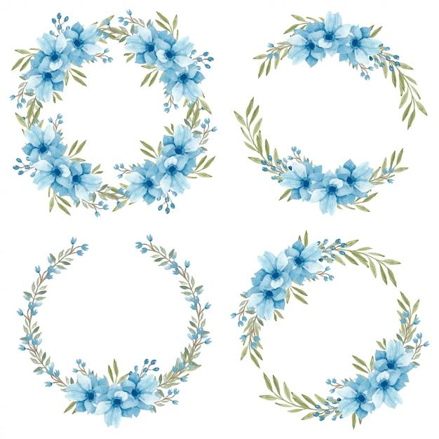 Corona di fiori di anemone blu dell'acquerello Vettore Premium
