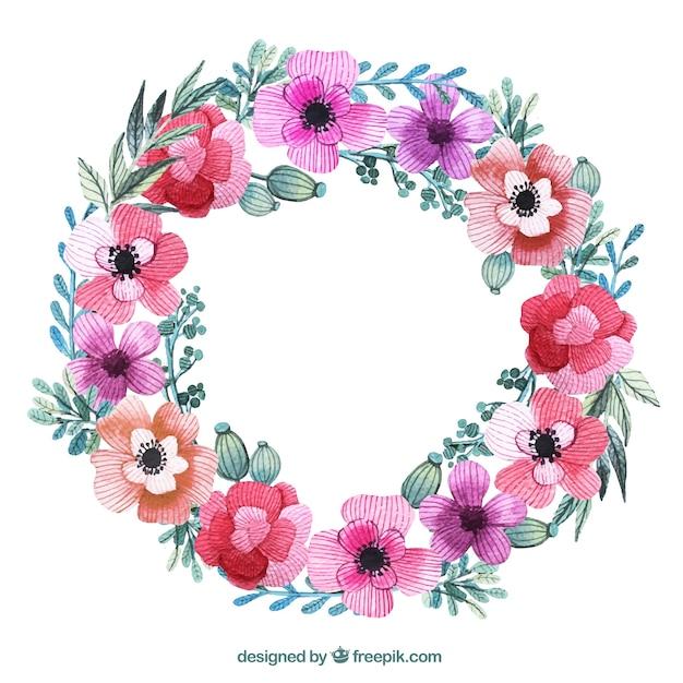 Corona di fiori nei colori rosa  Scaricare vettori gratis