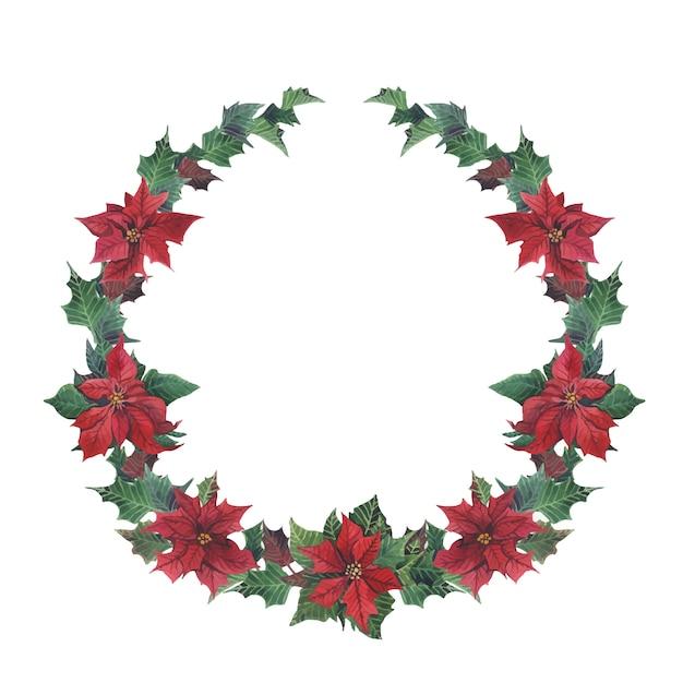 Corona di inverno dell'acquerello senza giunte con stella di natale e ramo Vettore Premium