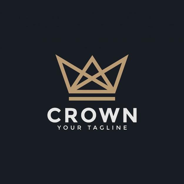 Corona di lusso astratta royal king queen line logo design template Vettore Premium