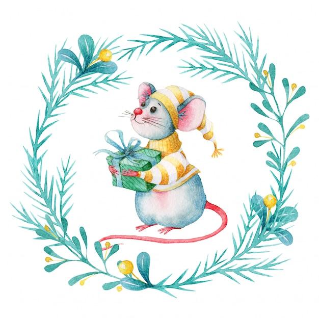 Corona di natale dell'acquerello con topo simpatico cartone animato Vettore Premium