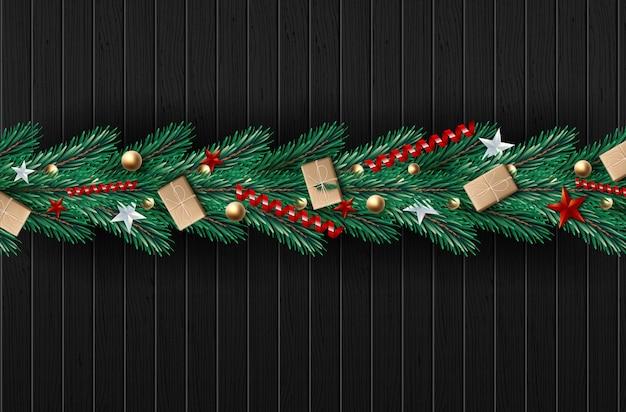 Corona di natale fatta di rami di pino dall'aspetto naturale decorati. Vettore Premium